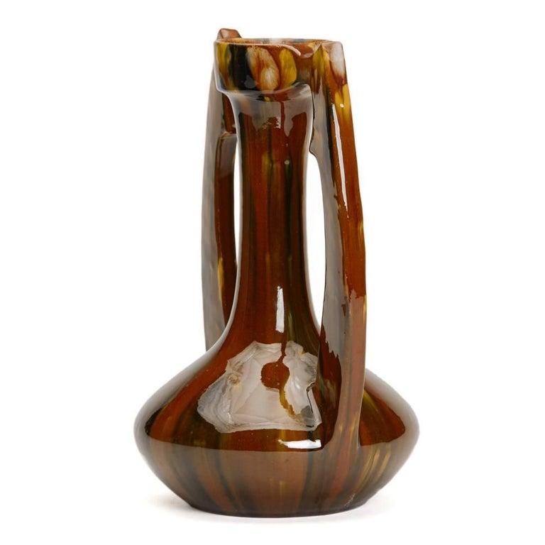 Earthenware Art Nouveau French Clement Massier Vase, 19th Century For Sale