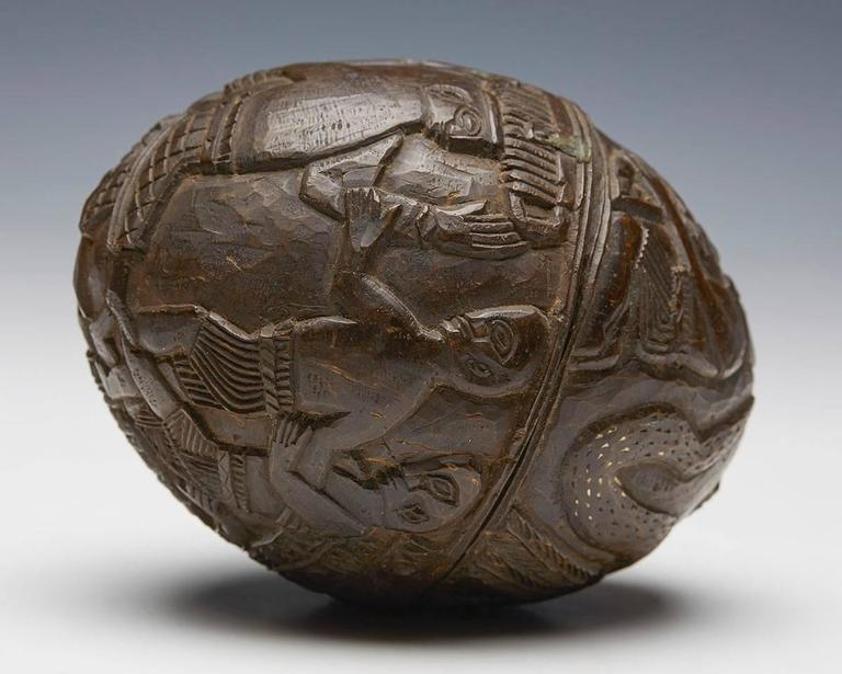 Antique Benin Carved Coconut with Provenance, Early 20th Century For Sale 1