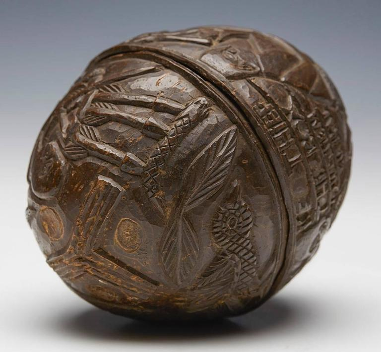 Beninese Antique Benin Carved Coconut with Provenance, Early 20th Century For Sale