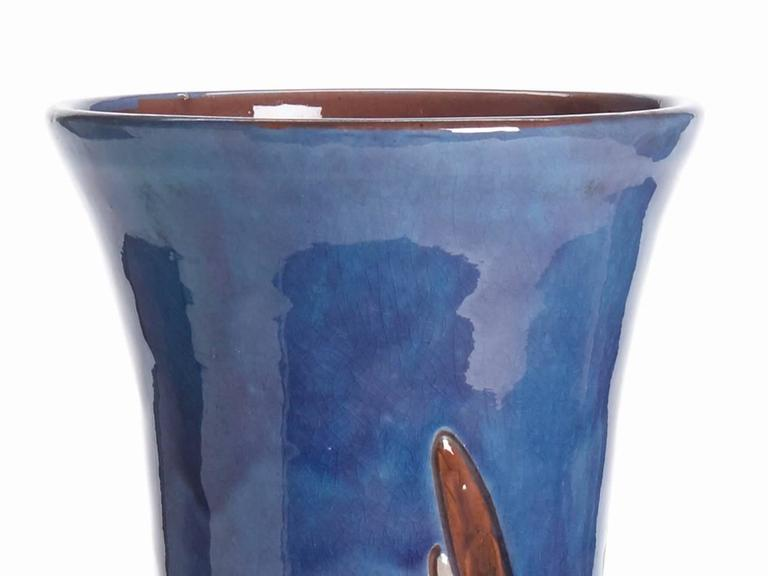 Glazed William Baron Blue Art Pottery Bird Trumpet Vase, circa 1900 For Sale