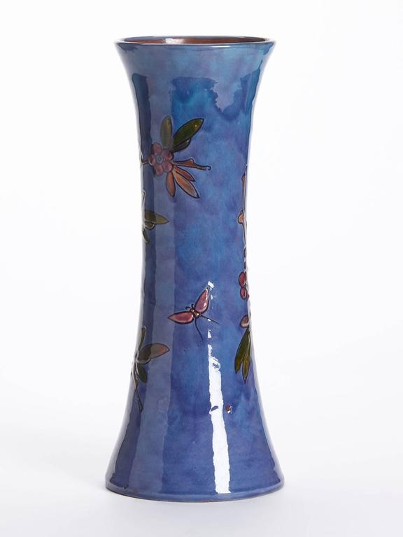Art Nouveau William Baron Blue Art Pottery Bird Trumpet Vase, circa 1900 For Sale