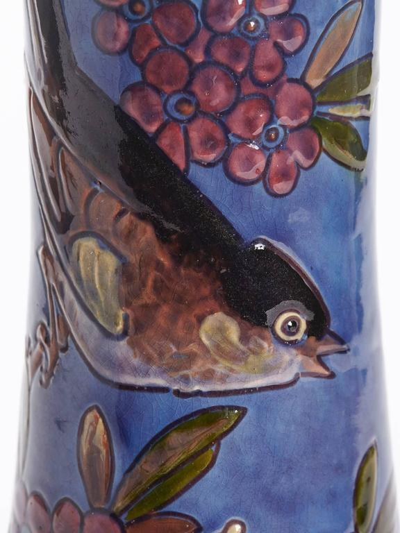 Early 20th Century William Baron Blue Art Pottery Bird Trumpet Vase, circa 1900 For Sale