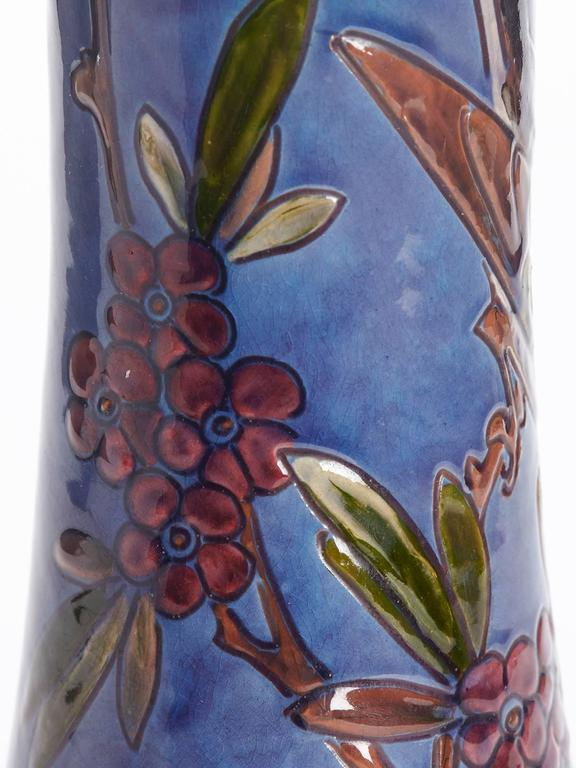 William Baron Blue Art Pottery Bird Trumpet Vase, circa 1900 For Sale 1