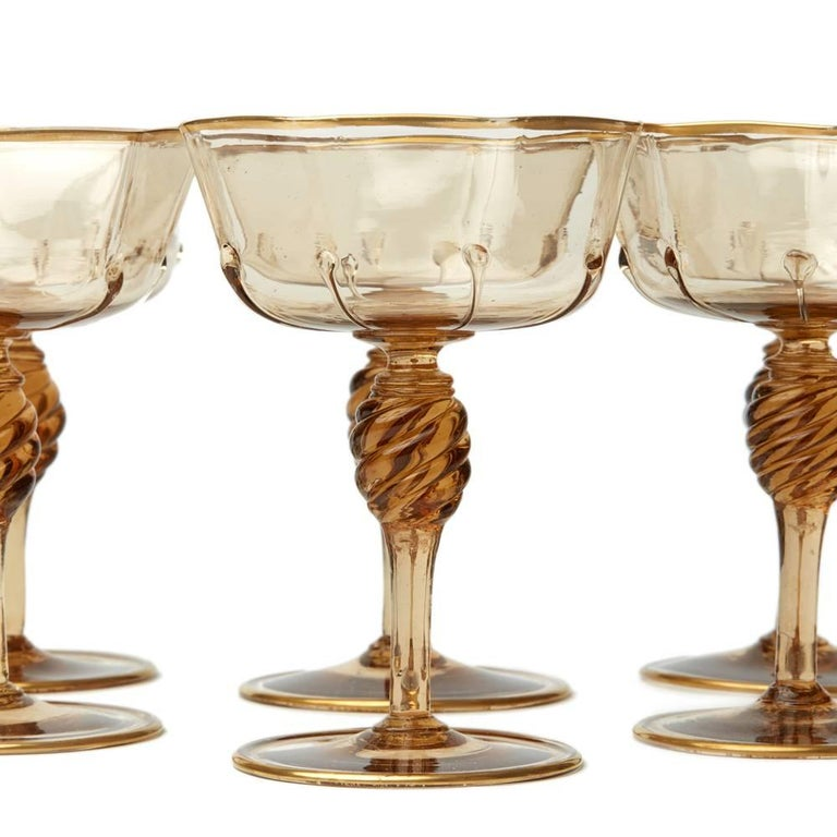 Eight Murano MVM Cappellin Amber Champagne Glasses, 1925 In Good Condition For Sale In Bishop's Stortford, Hertfordshire