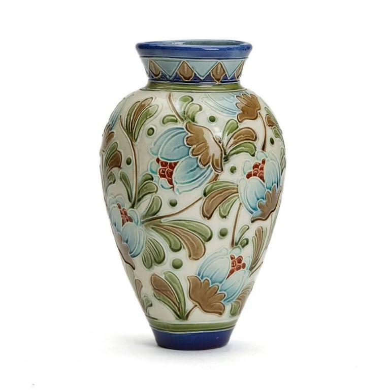 Burmantofts Faience Partie Color Exotic Blooms Vase At 1stdibs