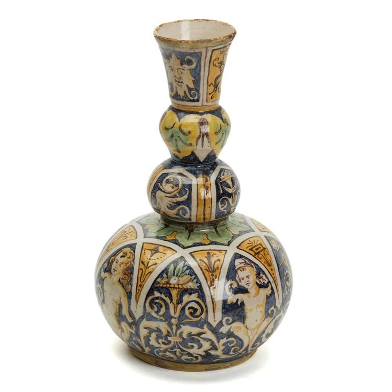 Glazed Antique Italian Maiolica Classical Painted Vase 19th Century For Sale