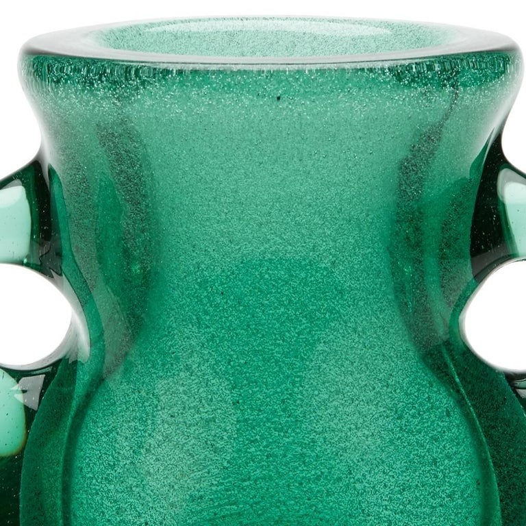 Murano Glass Vintage Murano Archimede Seguso Green Handled Glass Vase, circa 1960 For Sale