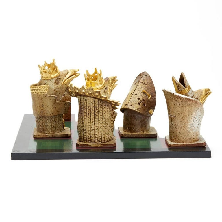Modern Kenneth Breeze Studio Pottery Chess Sculpture Installation For Sale