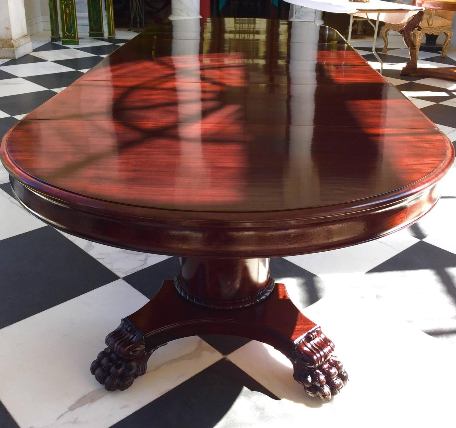 """Round Dining Room Tables For 12: Round Dining Table, 54""""Neoclassical Solid Mahogany"""
