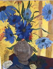 Charles Levier, 1920-2003, Cubist Oil on Canvas of Blue Flowers and Fruit