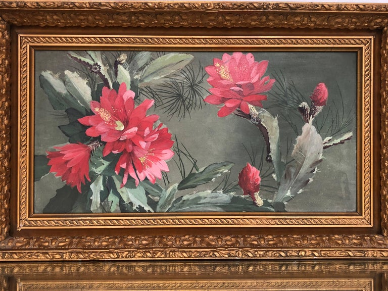 This beautiful late 19th Century Still Life of an Cactus in Blossom on Boad is in a Gilt Wood frame.