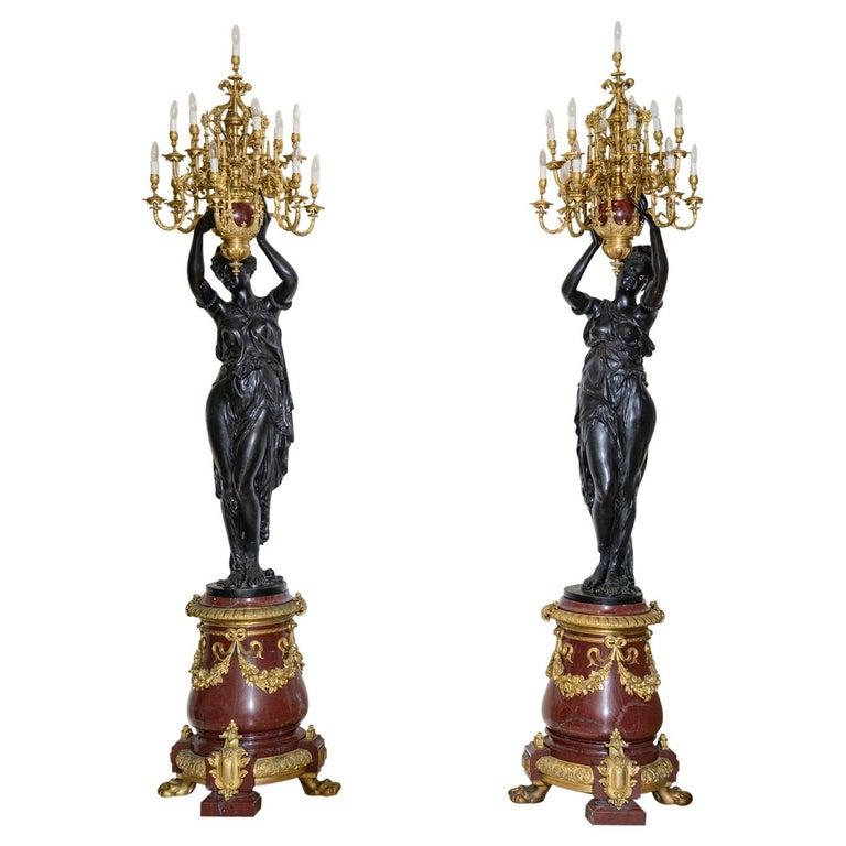 Monumental Pair of Figural Torchères, Candelabra