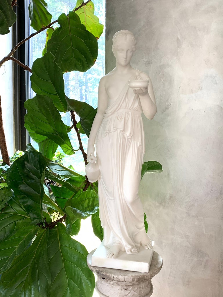 Neoclassical Marble Statue of Hebe For Sale