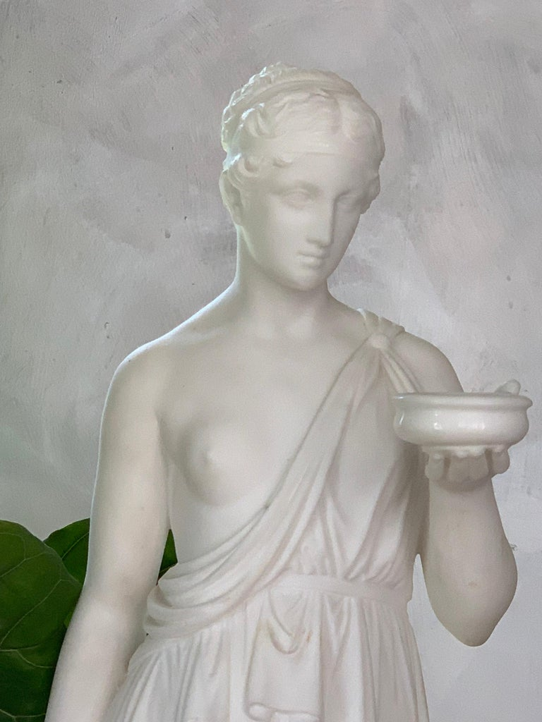 Hand-Carved Marble Statue of Hebe For Sale
