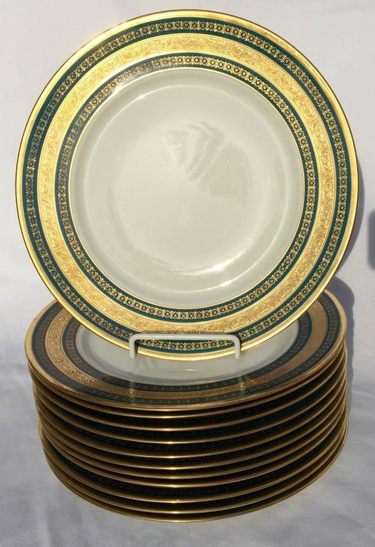 French Ten Neoclassical Style Teal Blue and Gold Border Limoges Porcelain Dinner Plates For Sale & Ten Neoclassical Style Teal Blue and Gold Border Limoges Porcelain ...