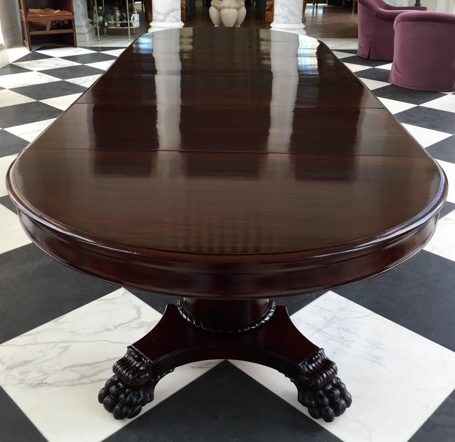 Round dining table 54 neoclassical solid mahogany for 5 foot dining room table