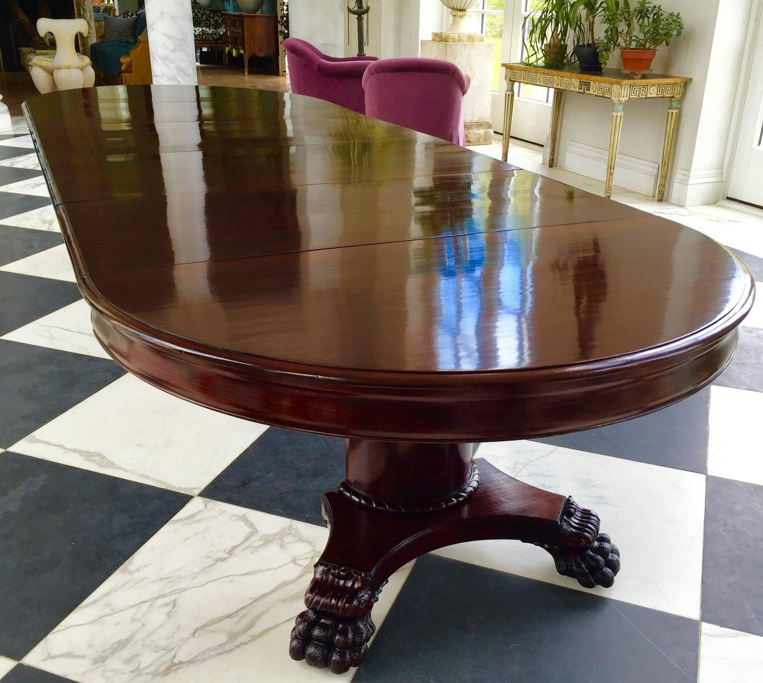 """12 Foot Dining Room Table: Round Dining Table, 54""""Neoclassical Solid Mahogany"""