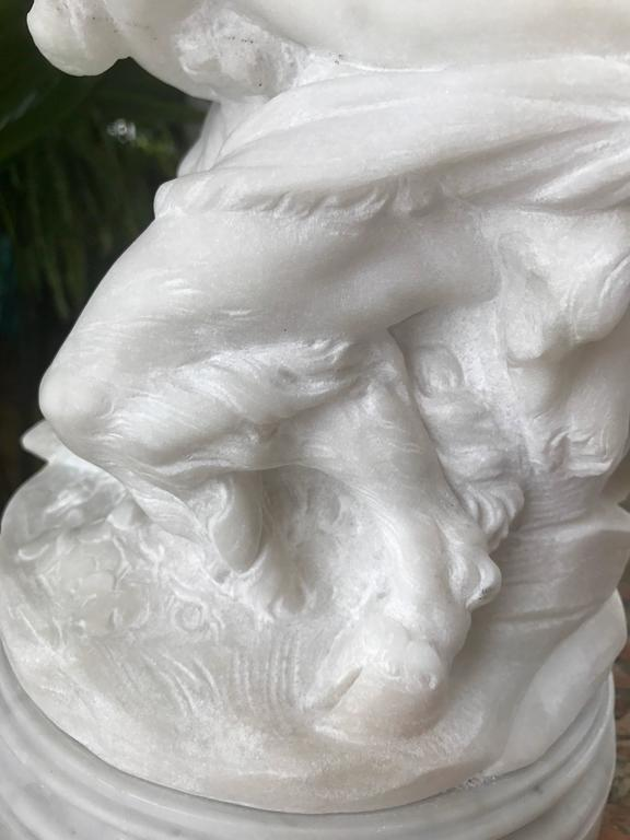 Carved Marble Sculpture of Satyr,18th Century For Sale