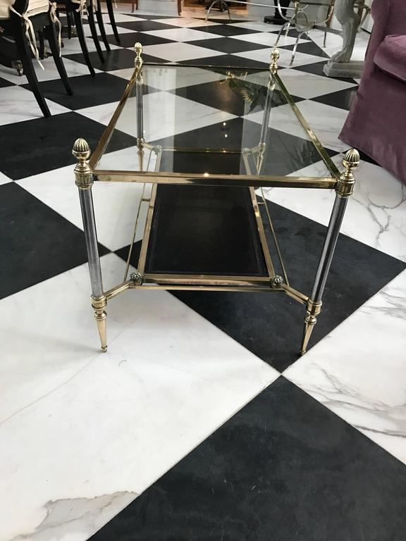 French Maison Jansen Neoclassical Glass Top Coffee Table For Sale