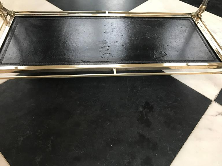 Maison Jansen Neoclassical Glass Top Coffee Table In Good Condition For Sale In Manchester, MA