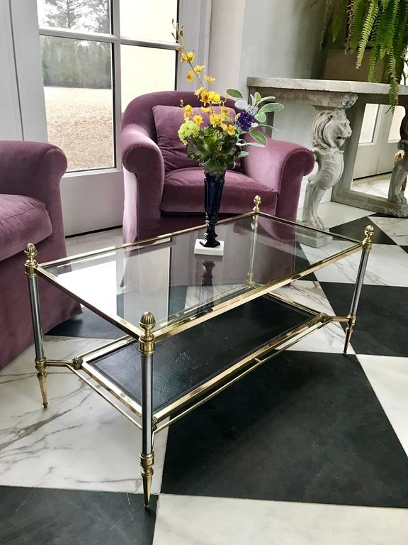 Mid-Century Modern Maison Jansen Neoclassical Glass Top Coffee Table For Sale