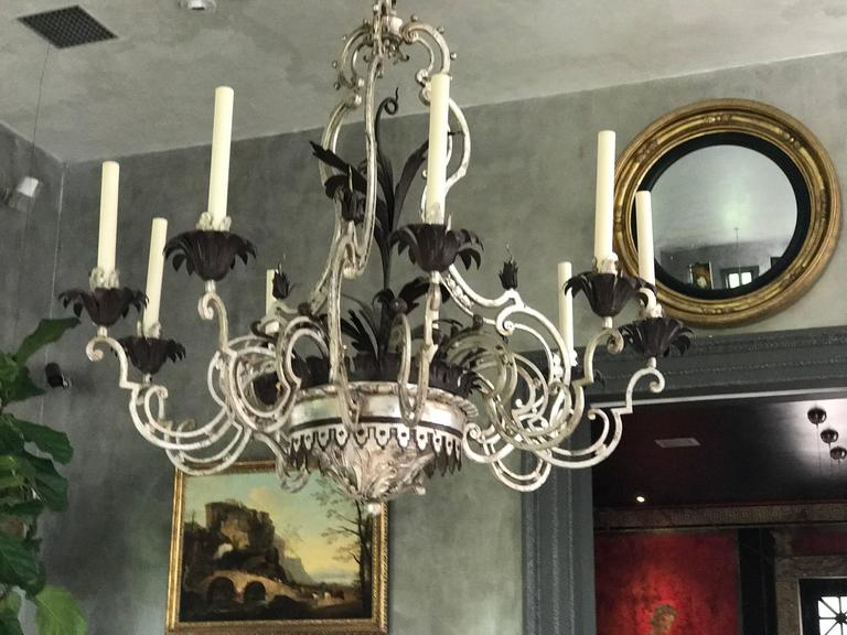 Wrought Iron Chandelier In Good Condition For Sale In Manchester, MA