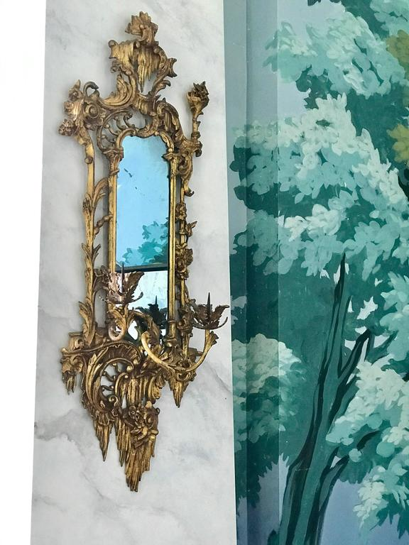 English Giltwood Mirrored Wall Sconces For Sale
