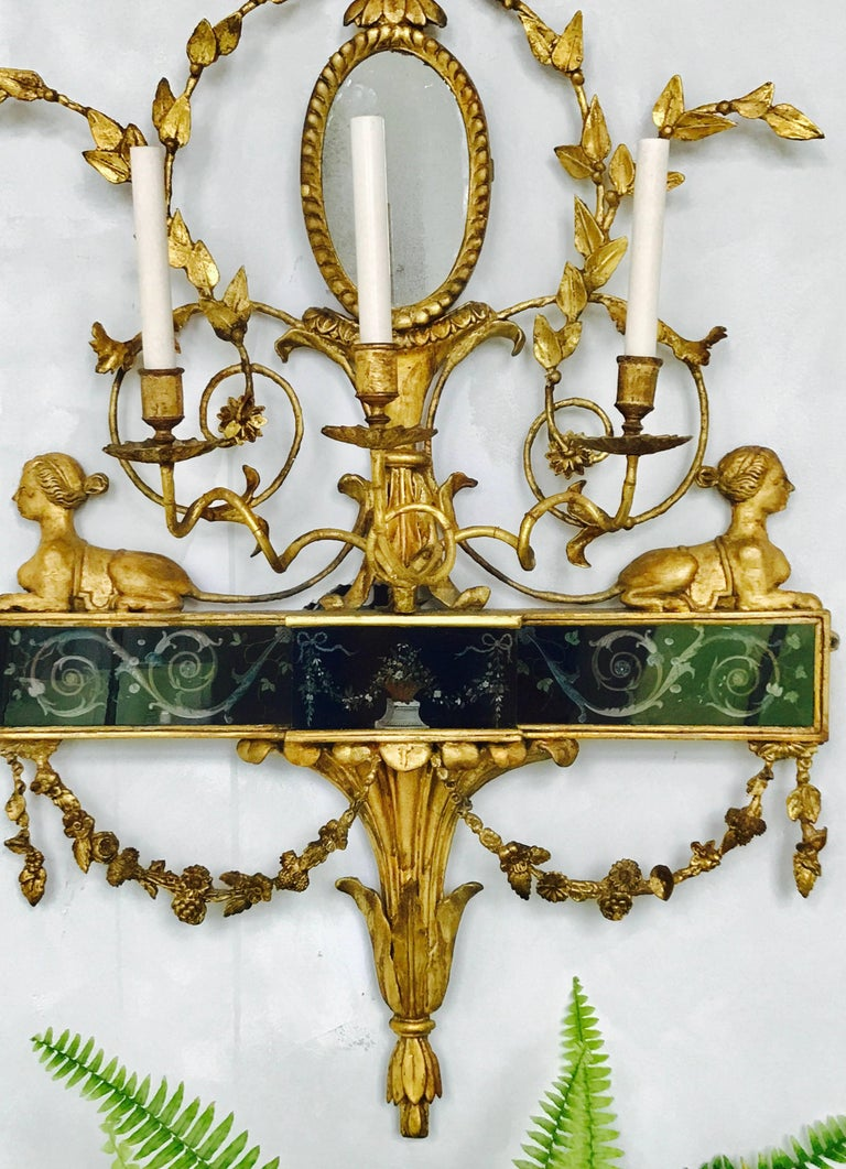 Blown Glass Pair of Neoclassical Wall Sconces For Sale