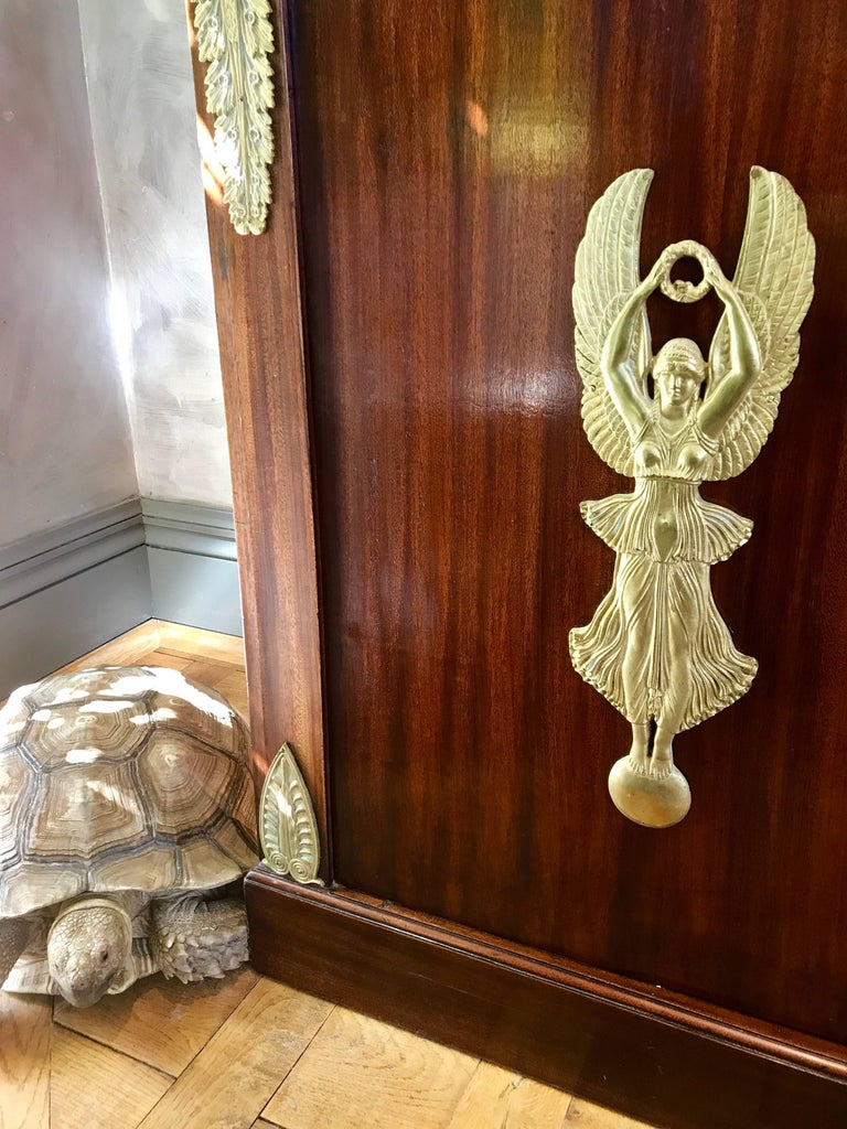 Bronze Pair of Empire Bookcases For Sale