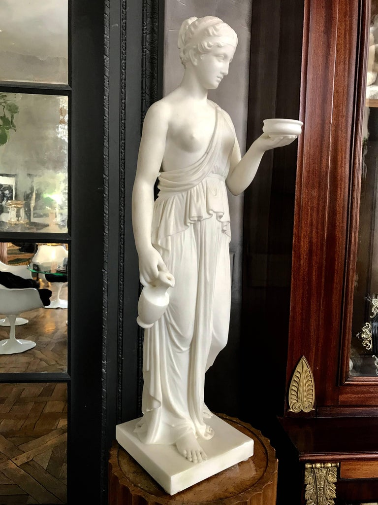 Marble Statue of Hebe In Good Condition For Sale In Manchester, MA