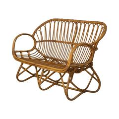 Sculpted Rattan Franco Albini Style Settee