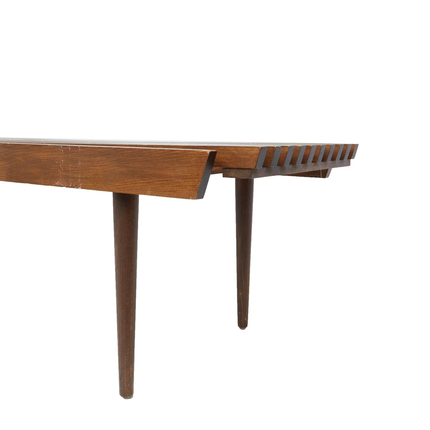 Slatted Wood Bench In The Style Of George Nelson For Herman Miller On Sale At 1stdibs
