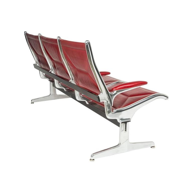 Mid-Century Modern Eames for Herman Miller Tandem Sling Bench in Red Edelman Leather For Sale