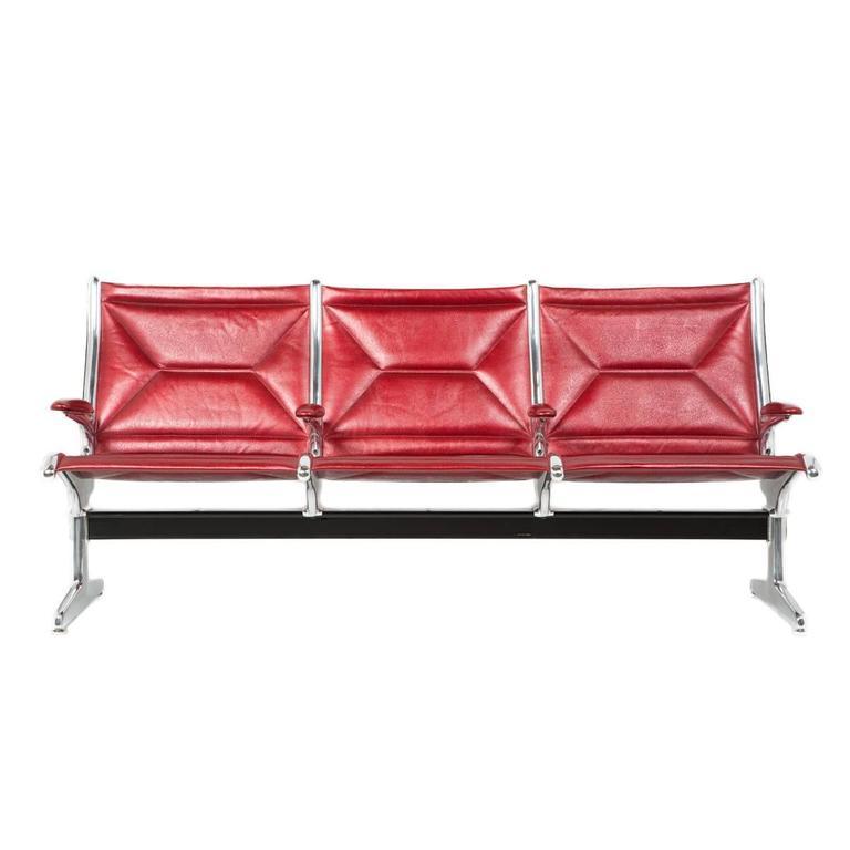 Eames for Herman Miller Tandem Sling Bench in Red Edelman Leather