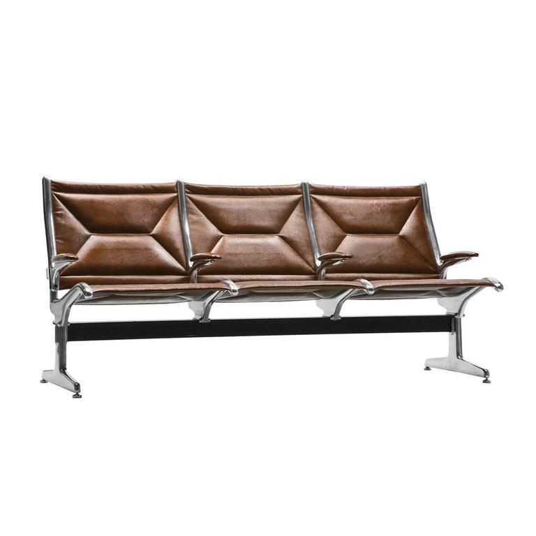 Eames for Herman Miller Tandem Sling Bench in Copper Edelman Leather