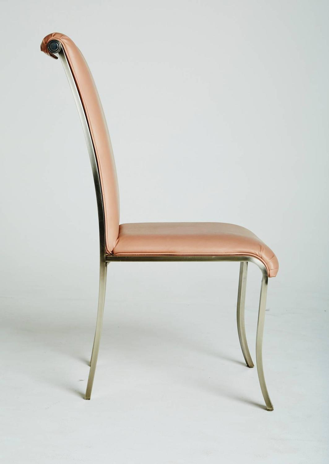 Set of Six Pink and Chrome Dining Chairs by DIA Marked