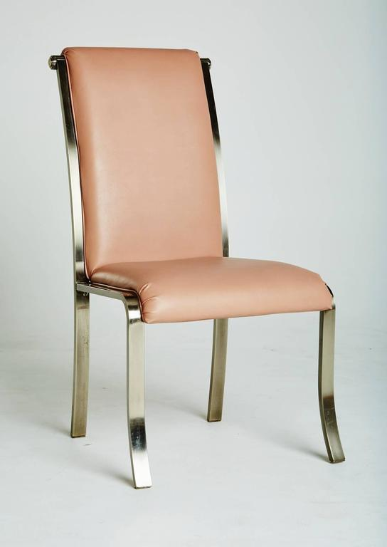 Set of Six Pink and Chrome Dining Chairs by DIA Marked at