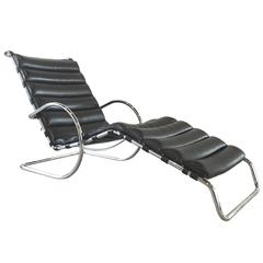 Black Leather MR Chaise Lounge Chair by Ludwig Mies van der Rohe