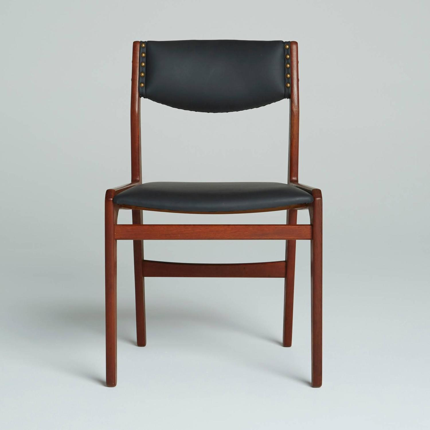 Set Of Four Black Leather Dining Chairs By Illums Bolighus