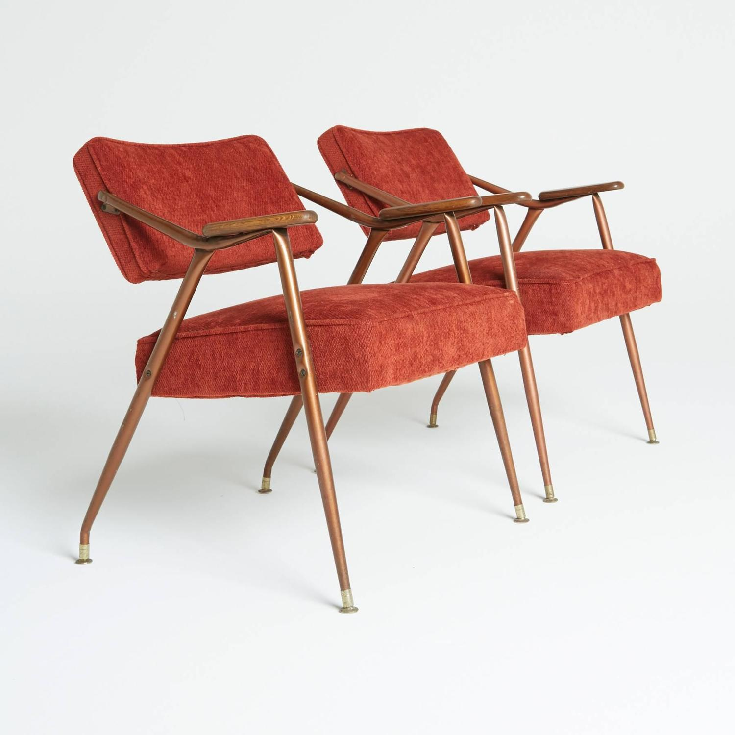 Pair Of Adjustable Backrest Red Lounge Armchairs By Viko