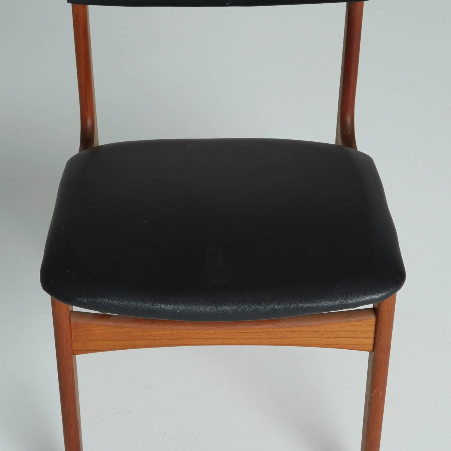 Set Of Six Black Leather Danish Modern Dining Chairs ON