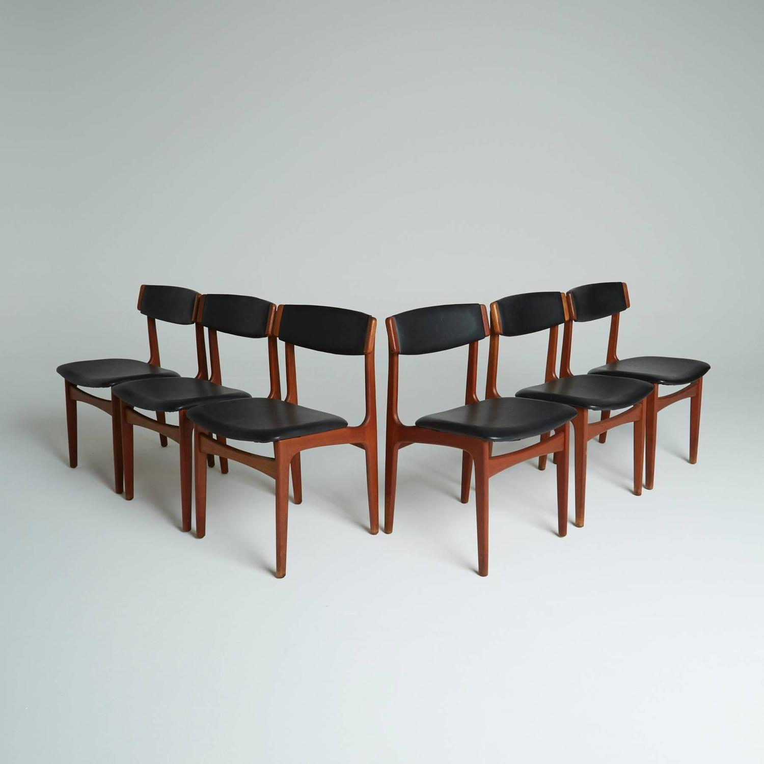 of six black leather danish modern dining chairs on sale at 1stdibs