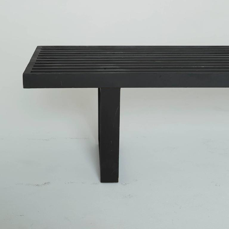 Black Slatted Wood Bench By George Nelson For Herman
