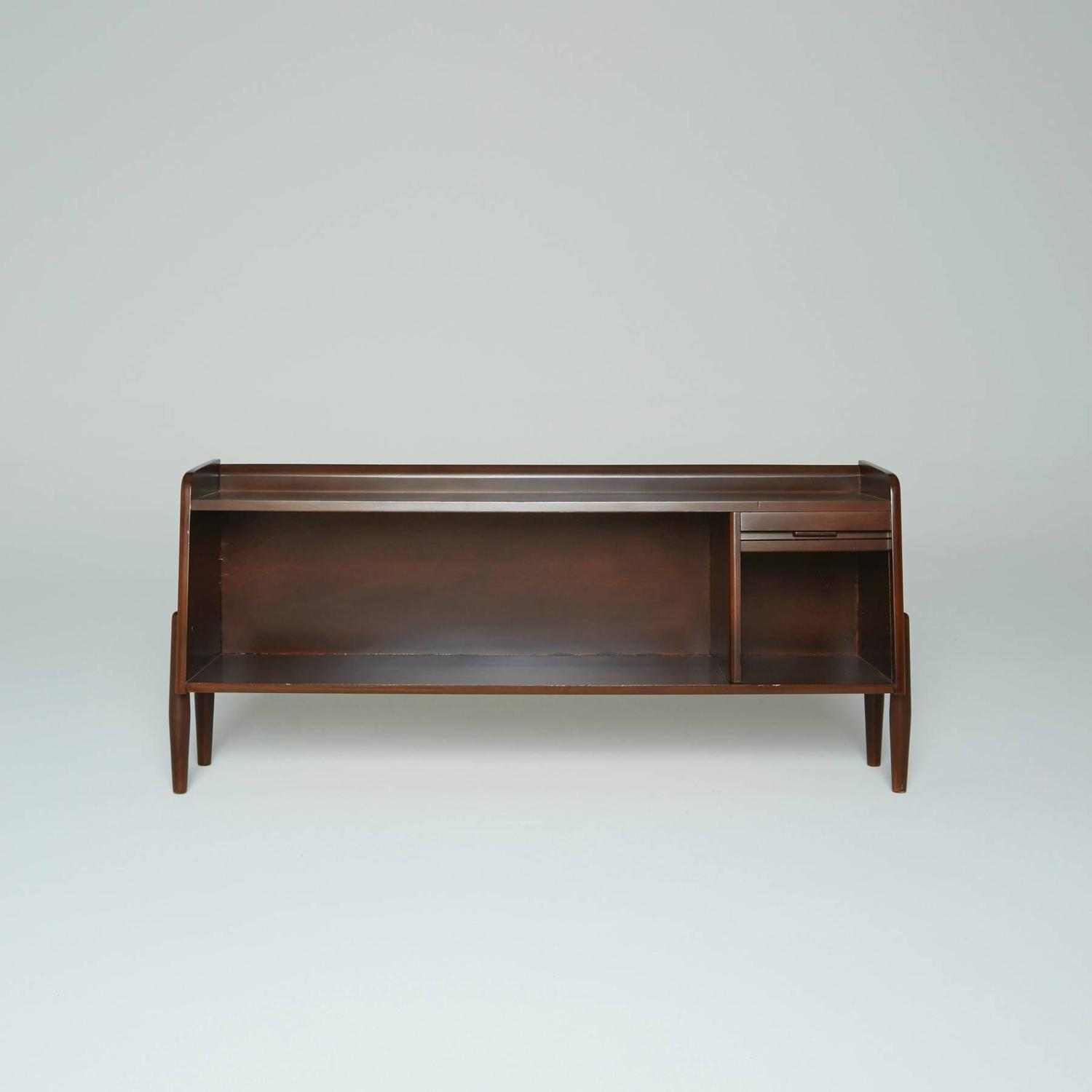 danish modern dark wood sideboard shelf case or shoe rack for sale at