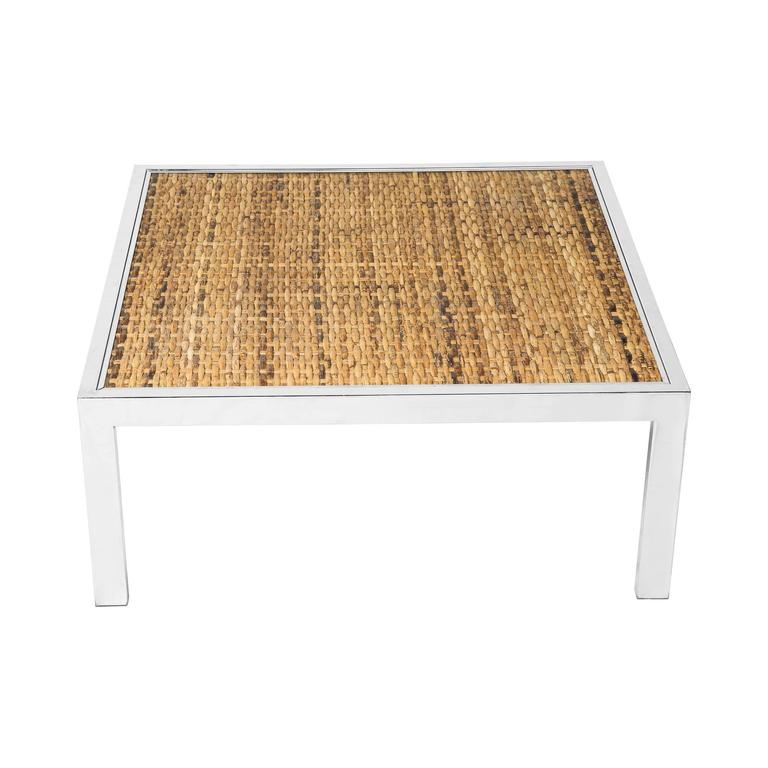 Milo Baughman Woven Bamboo And Chrome Cocktail Table With Glass Top At 1stdibs