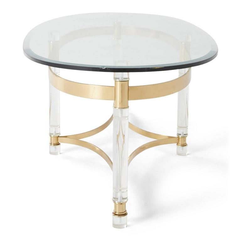 Charles hollis jones style lucite and brass regency coffee for Lucite and brass coffee table
