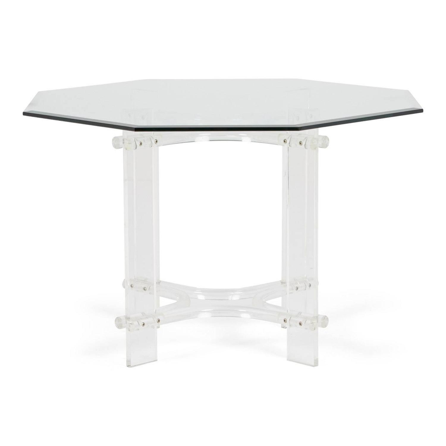 Charles Hollis Jones Style Lucite Octagon Dining Table