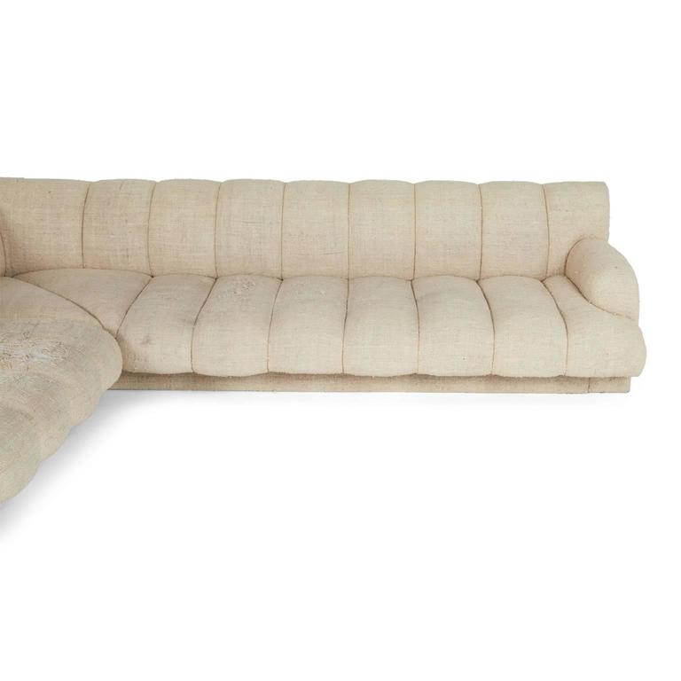 Steve Chase Channel Tufted L-Shape Sectional Sofa, 1986 5