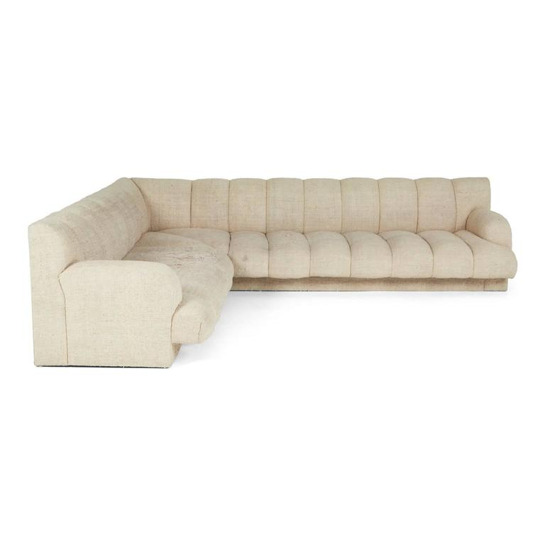 Steve Chase Channel Tufted L-Shape Sectional Sofa, 1986 2