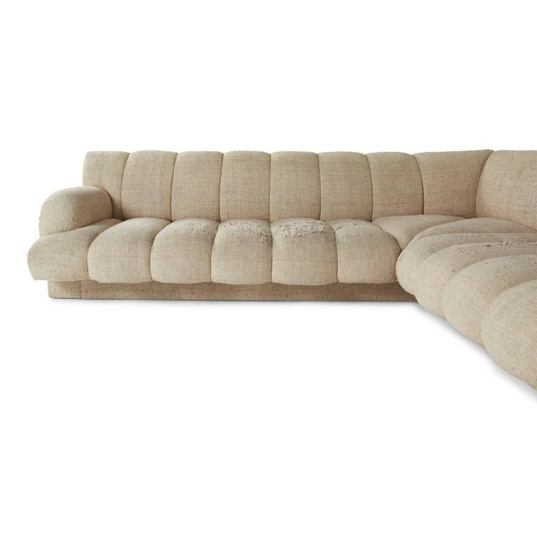 Steve Chase Channel Tufted L-Shape Sectional Sofa, 1986 4